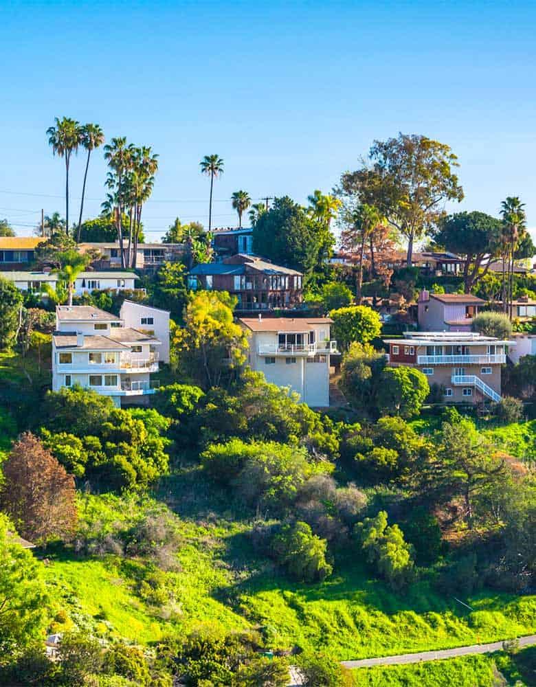 laguna hills homes on green hillside